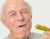 older man eating healthy diet